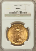 Saint-Gaudens Double Eagles: , 1910-D $20 MS64 NGC. NGC Census: (1753/481). PCGS Population(1963/1106). Mintage: 429,000. Numismedia Wsl. Price for probl...