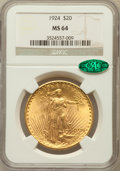 Saint-Gaudens Double Eagles: , 1924 $20 MS64 NGC. CAC. NGC Census: (102173/37580). PCGS Population(81825/47970). Mintage: 4,323,500. Numismedia Wsl. Pric...