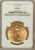 Saint-Gaudens Double Eagles: , 1910-D $20 MS63 NGC. NGC Census: (2096/2234). PCGS Population(1667/3069). Mintage: 429,000. Numismedia Wsl. Price for prob...