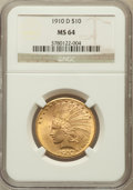 Indian Eagles: , 1910-D $10 MS64 NGC. NGC Census: (822/265). PCGS Population(649/119). Mintage: 2,356,640. Numismedia Wsl. Price for proble...