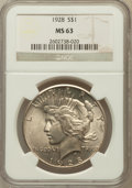 Peace Dollars: , 1928 $1 MS63 NGC. NGC Census: (1404/1030). PCGS Population(2181/2007). Mintage: 360,649. Numismedia Wsl. Price for problem...