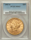 Liberty Double Eagles: , 1907-S $20 MS63 PCGS. PCGS Population (825/337). NGC Census:(720/305). Mintage: 2,165,800. Numismedia Wsl. Price for probl...