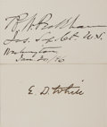 Autographs:Statesmen, [Edward White Supreme Court]. Group of Two Signatures... (Total: 2Items)