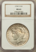 Peace Dollars: , 1934-D $1 MS63 NGC. NGC Census: (1143/1060). PCGS Population(1500/1732). Mintage: 1,569,500. Numismedia Wsl. Price for pro...