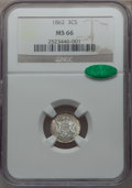 Three Cent Silver, 1862 3CS MS66 NGC. CAC....