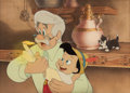 Animation Art:Production Cel, Pinocchio Geppetto and Pinocchio Production Cel andBackground (Walt Disney, 1940)....
