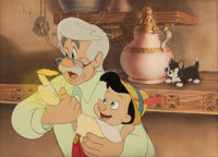 Pinocchio Geppetto and Pinocchio Production Cel and Background (Walt Disney, 1940)