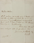 Autographs:Non-American, George Keith Elphinstone Autograph Letter Signed...