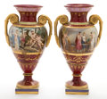 Ceramics & Porcelain, A PAIR OF ROYAL VIENNA PORCELAIN VASES. Circa 1880. Marks: (shield). 19-1/2 inches high (49.5 cm). ... (Total: 2 Items)