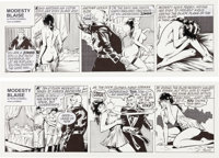 Enrique Badia Romero Modesty Blaise Daily Comic Strips #9838 and 9839 Original Art (London Times Mirror, 1999)... (Total...