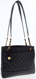 Luxury Accessories:Bags, Chanel Black Quilted Caviar Leather Shoulder Bag. ...