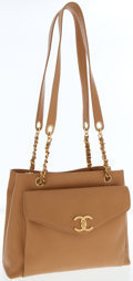 Luxury Accessories:Bags, Chanel Beige Caviar Leather Turnlock Pocket Shoulder Bag with GoldChanel Charm. ...