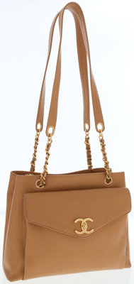 Chanel Beige Caviar Leather Turnlock Pocket Shoulder Bag with Gold Chanel Charm