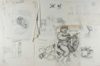 Garth Williams (1912-1996), illustrator. Large Lot of Preliminary Pencil Illustrations for Margery Sharp's Miss