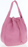 Luxury Accessories:Accessories, Bottega Veneta Bright Pink Intrecciato Nappa Leather Shoulder Bagwith Drawstring. ...