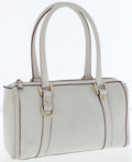 Luxury Accessories:Accessories, Gucci Light Gray Leather Shoulder Bag with Gold Hardware. ...