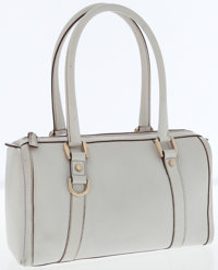 Gucci Light Gray Leather Shoulder Bag with Gold Hardware