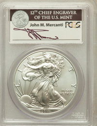 2011-S $1 Silver Eagle, 25th Anniversary Set, First Strike MS68 PCGS. Ex: Signature of John M. Mercanti, 12th Chief Engr...