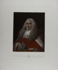 Books:Prints & Leaves, Thomas Gainsborough, artist. Hand-Colored Engraved Portrait of the Honorable Justice Sir William Blackstone (1723-1780). 16....