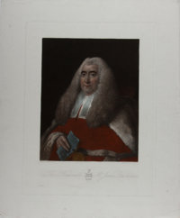 Thomas Gainsborough, artist. Hand-Colored Engraved Portrait of the Honorable Justice Sir William Blackstone (1723-1780)...