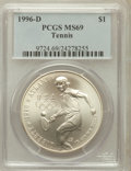 Modern Issues: , 1996-D $1 Olympic/Tennis Silver Dollar MS69 PCGS. PCGS Population(1045/127). NGC Census: (616/82). Numismedia Wsl. Price ...