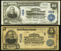 National Bank Notes:Maryland, Baltimore, MD - $5 1902 Date Back Fr. 590 The National ExchangeBank Ch. # (E)1109. Cumberland, MD - $10 1902 Plain ... (Total: 2notes)
