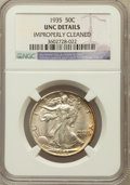 Walking Liberty Half Dollars, 1935 50C -- Improperly Cleaned -- NGC Details. Unc. NGC Census:(1/2151). PCGS Population (7/3355). Mintage: 9,162,000. Num...
