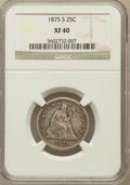 Seated Quarters: , 1875-S 25C XF40 NGC. NGC Census: (1/83). PCGS Population (4/72).Mintage: 680,000. Numismedia Wsl. Price for problem free N...