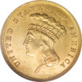 Three Dollar Gold Pieces, 1856-S $3 MS61 NGC....