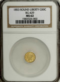 California Fractional Gold: , 1853 50C Liberty Round 50 Cents, BG-429, Low R.4, MS62 NGC. NGCCensus: (8/2). PCGS Population (38/9). (#10465)...