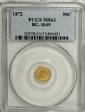California Fractional Gold: , 1872 50C Indian Round 50 Cents, BG-1049, R.4, MS63 PCGS. PCGSPopulation (30/24). NGC Census: (0/4). (#10878)...