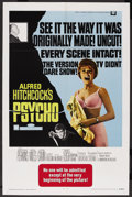 "Movie Posters:Hitchcock, Psycho (Paramount, R-1969). One Sheet (27"" X 41""). Hitchcock. ..."