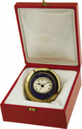 "Movie/TV Memorabilia:Memorabilia, Emile LaVigne's Clock from Lillian Gish. A faux Cartier gold-tonetable clock with blue enamel, 2.75"" x 3"", given to LaVigne...(Total: 1 Item)"