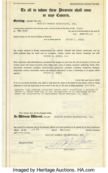 Marilyn Monroe Signed Agreement A Notarized General Lot 22073