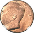 Errors, Undated Kennedy Half Dollar -- Struck on a Cent Blank -- MS64 Red and Brown NGC....