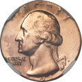 Errors, 1971-D 25C Quarter -- Struck on a Cent Planchet -- MS63 Red and Brown NGC....