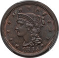 Large Cents: , 1855 1C Slanting 5s MS64 Brown PCGS. CAC. PCGS Population (16/8).NGC Census: (15/14). ...