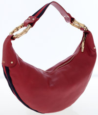 Gucci Red Leather Hobo Bag with Gold Bamboo Hardware