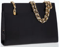 Luxury Accessories:Bags, Gucci Black Embossed Leather Shoulder Bag with Gold Chain ShoulderStraps. ...