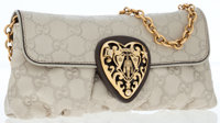 Gucci Beige Leather Monogram Shoulder Bag with Gold Heart Detail