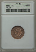 1863 1C PR62 ANACS. NGC Census: (3/110). PCGS Population (7/130). Mintage: 460. Numismedia Wsl. Price for problem free N...
