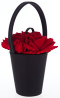 Luxury Accessories:Accessories, Lulu Guinness Black Silk Florist Basket Bag with Red Roses. ...