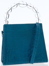 Turquoise Crocodile Bag with Lucite Beaded Top Handle