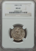 Seated Quarters: , 1888-S 25C MS62 NGC. NGC Census: (22/62). PCGS Population (11/53).Mintage: 1,216,000. Numismedia Wsl. Price for problem fr...
