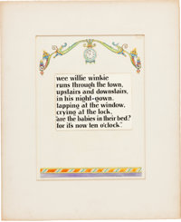 """Willy Pogany Mother Goose Illustration """"Wee Willie Winkie"""" Original Art (Nelson, 1929)"""