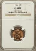 Lincoln Cents: , 1924 1C MS64 Red and Brown NGC. NGC Census: (79/54). PCGSPopulation (140/28). Mintage: 75,178,000. Numismedia Wsl. Pricef...