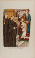 """Books:Prints & Leaves, Hand-Colored Illustration of """"The Penance of Henry II, Before theShrine of Thomas Becket at Canterbury"""". 12"""" x 19.75"""", orig..."""