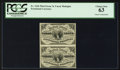 Fractional Currency:Third Issue, Fr. 1226 3¢ Third Issue Uncut Vertical Pair PCGS Choice New 63.. ...