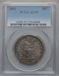 Seated Half Dollars: , 1863 50C AU55 PCGS. PCGS Population (5/66). NGC Census: (8/68).Mintage: 503,200. Numismedia Wsl. Price for problem free NG...