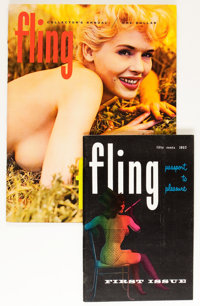Fling #1 and Annual #1 Men's Magazines Group (Relim Publishing Co. Inc., 1957-59) Condition: Average VF+.... (Total: 2 I...